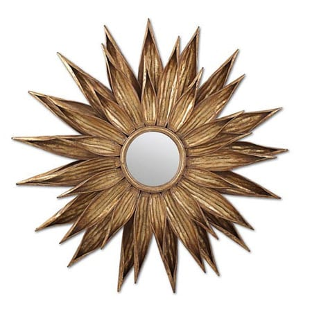 Twos Company Sunflower Antiqued Wall Mirror